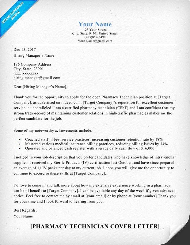 Pharmacy Technician Cover Letter Sample & Guide