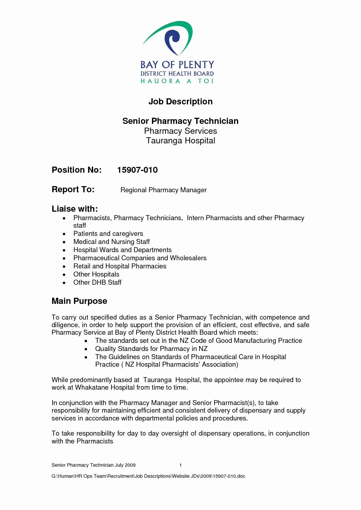 Pharmacy Technician Job Description for Resume Resume Ideas