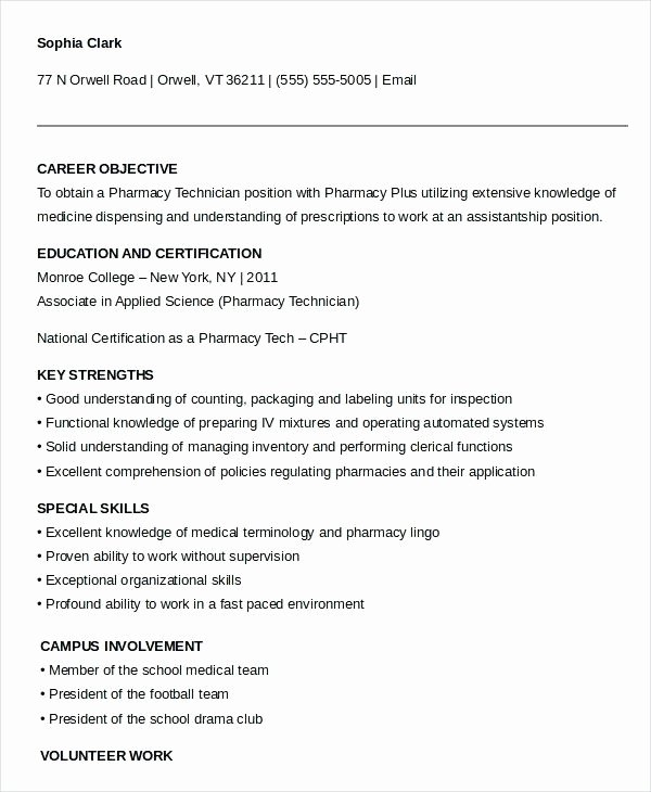 Pharmacy Technician Resume Duties