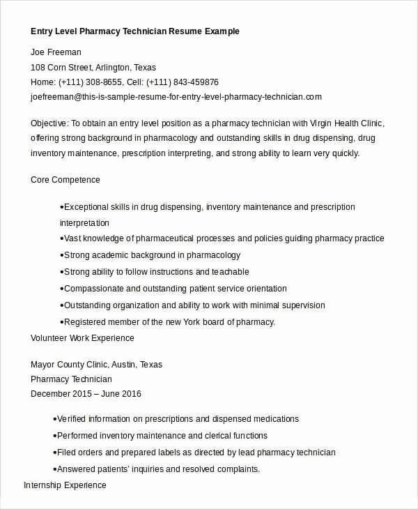 Pharmacy Technician Resume Objective Pharmacy Tech Resume