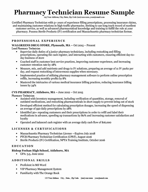 Pharmacy Technician Resume Sample & Tips