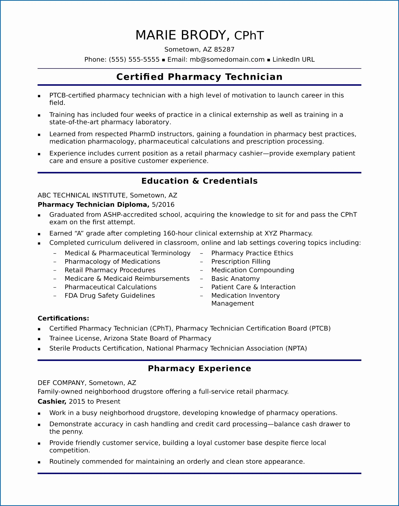 Pharmacy Technician Resume Sample Awesome 7 Resume Basic