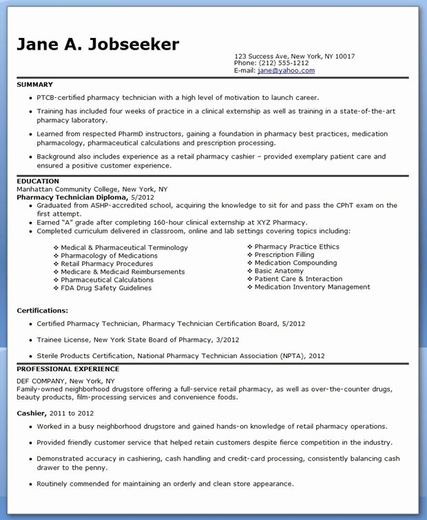 Pharmacy Technician Resume Sample No Experience