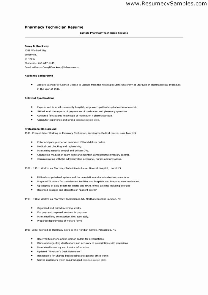 pharmacy technician resume skills 498