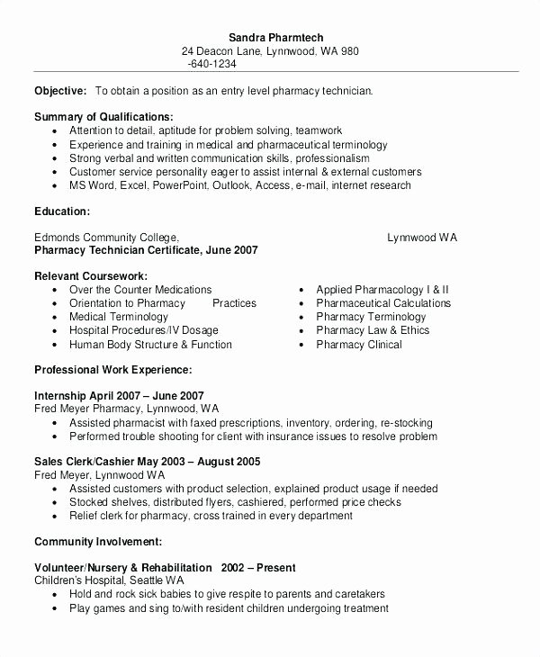 Pharmacy Technician Trainee Resume Resume Ideas