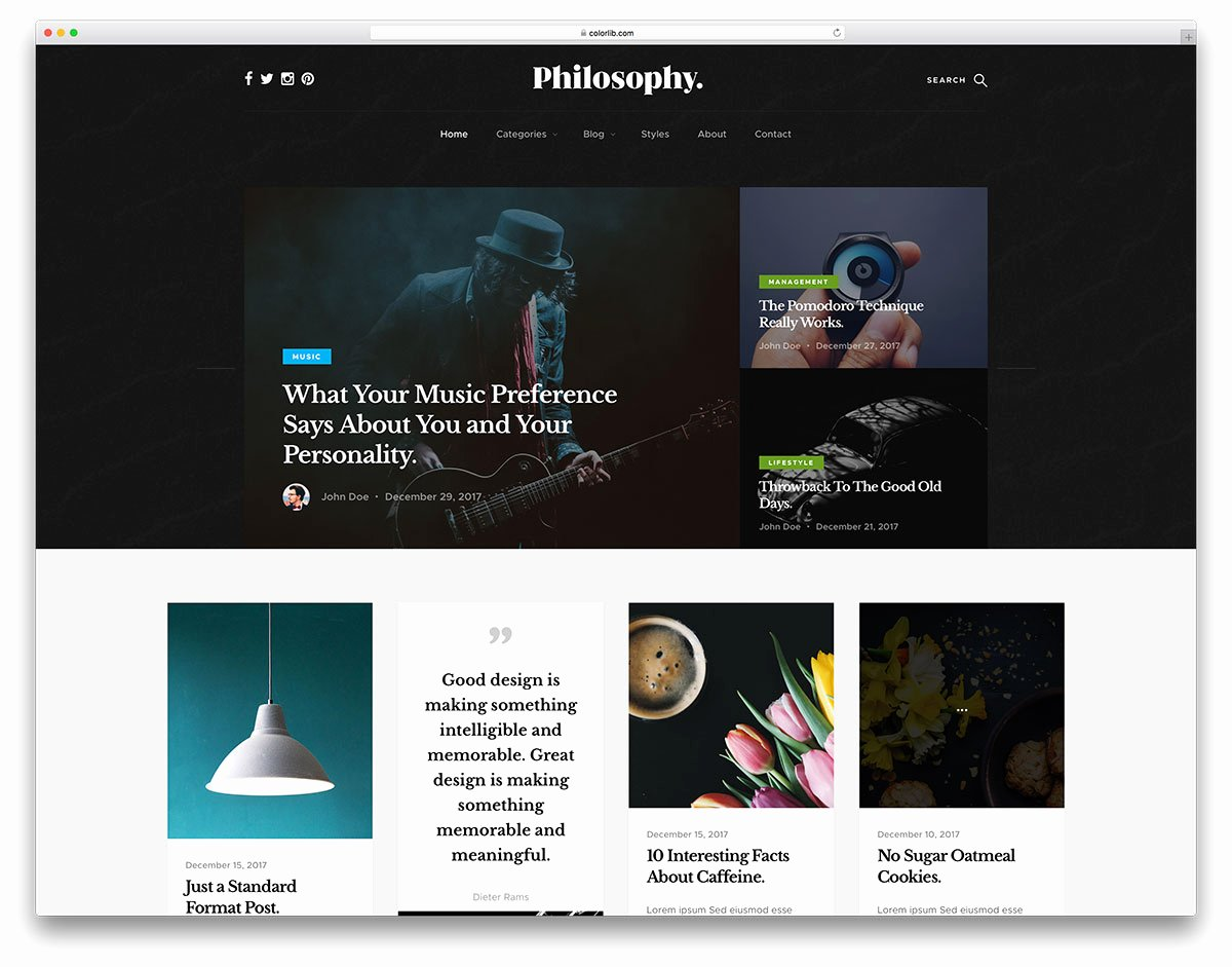 Philosophy Free Masonry Grid Blog Website Template