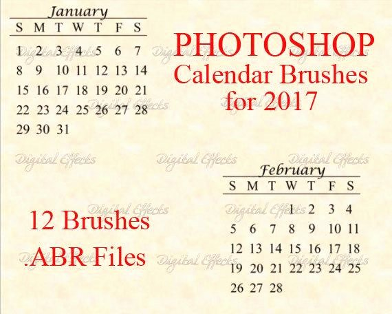 Photoshop Brushes 2017 Calendar Brush Set Diy Calendars