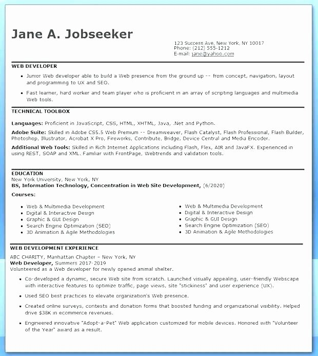 Php Web Developer Resume Objective Summary Creative