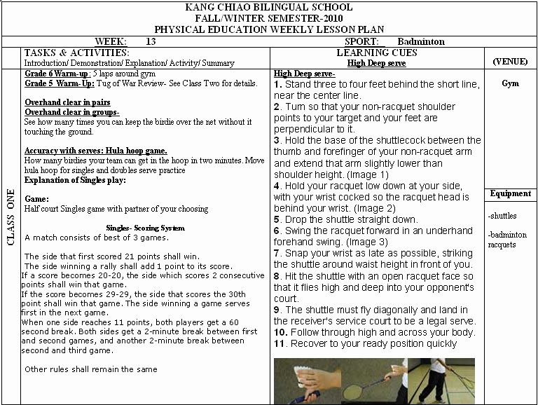 Physical Education Department Pe Weekly Lesson Plans