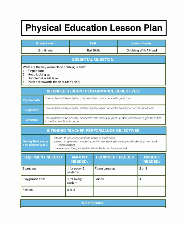 Physical Education Lesson Plan Template to Pin On