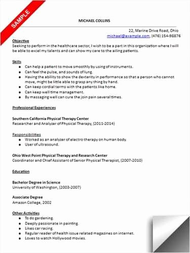Physical therapist assistant Resume Examples