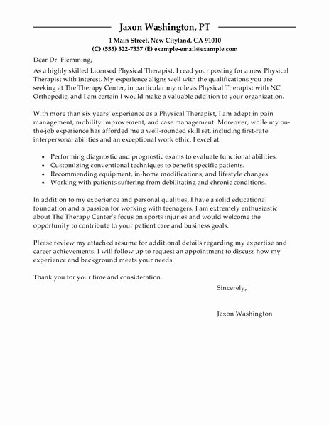 Physical therapist Cover Letter Examples