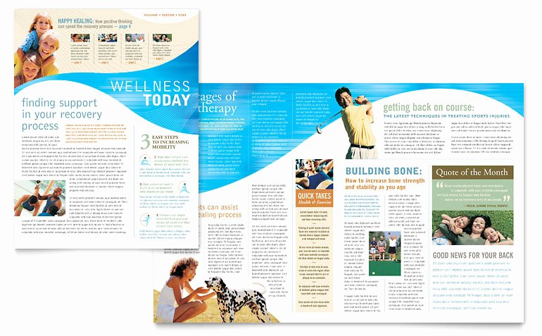 Physical therapist Newsletter Template Word & Publisher