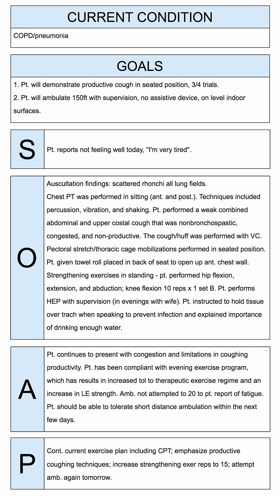 Physical therapist soap Notes Example Quotes
