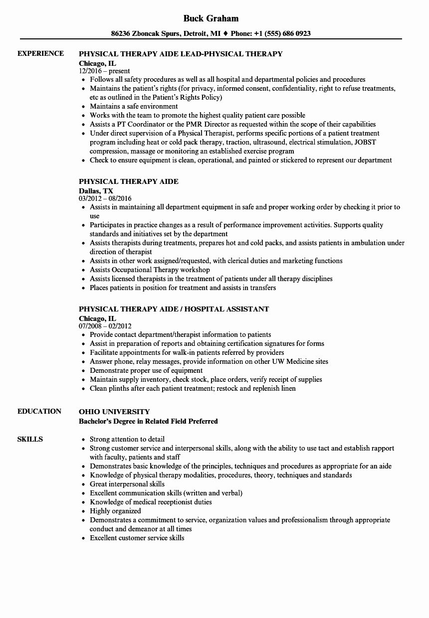 physical therapy aide resume sample