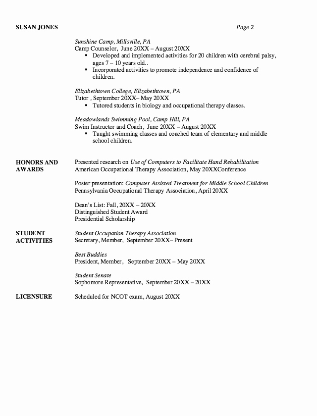 Physical therapy assistant Student Resume