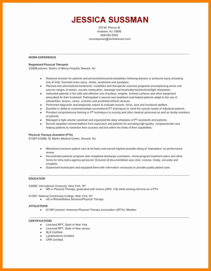 Physical therapy Resume Example Create My Resume Resume