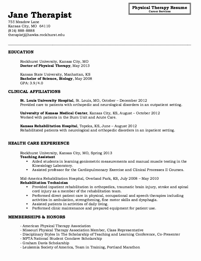 Physical therapy Resume Sample