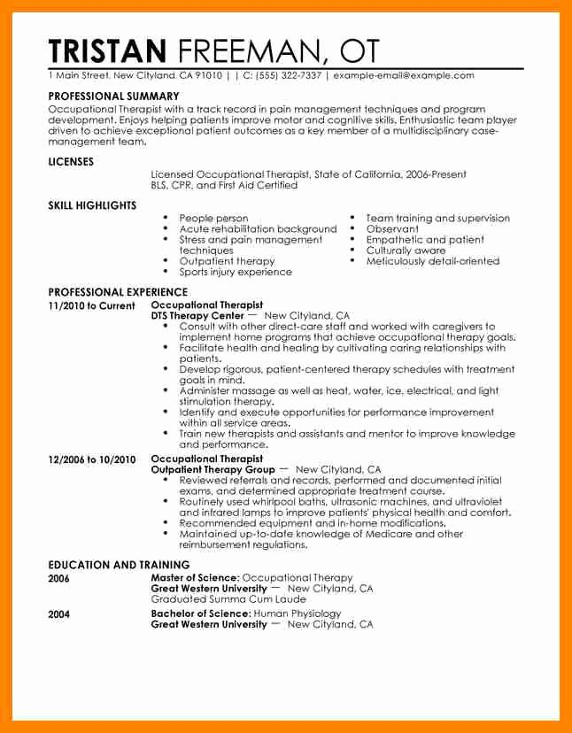 Physical therapy Resume Template Pta Resume Example