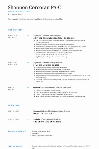 Physician assistant Resume Template Physician Resume