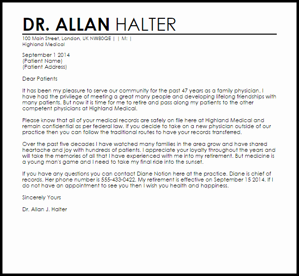 Physician Retirement Letter Example