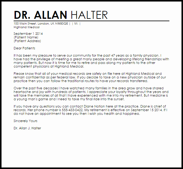 Physician Retirement Letter Retirement Letters