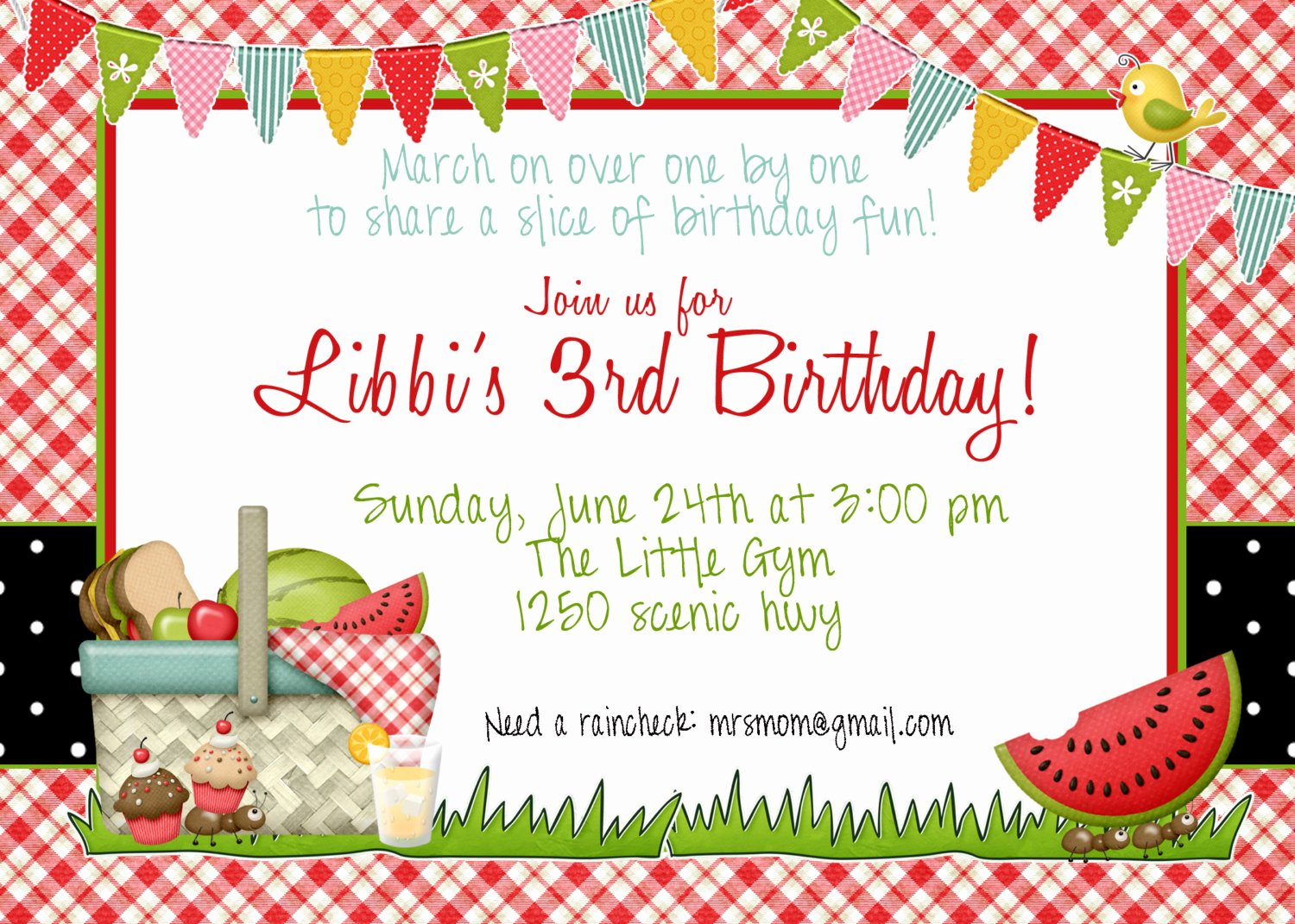 Picnic Birthday Invitation by Greatgrabbiedesigns On Etsy