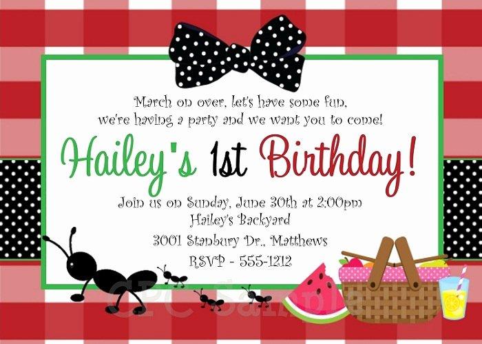 Picnic Birthday Party Invitations Ideas – Bagvania Free