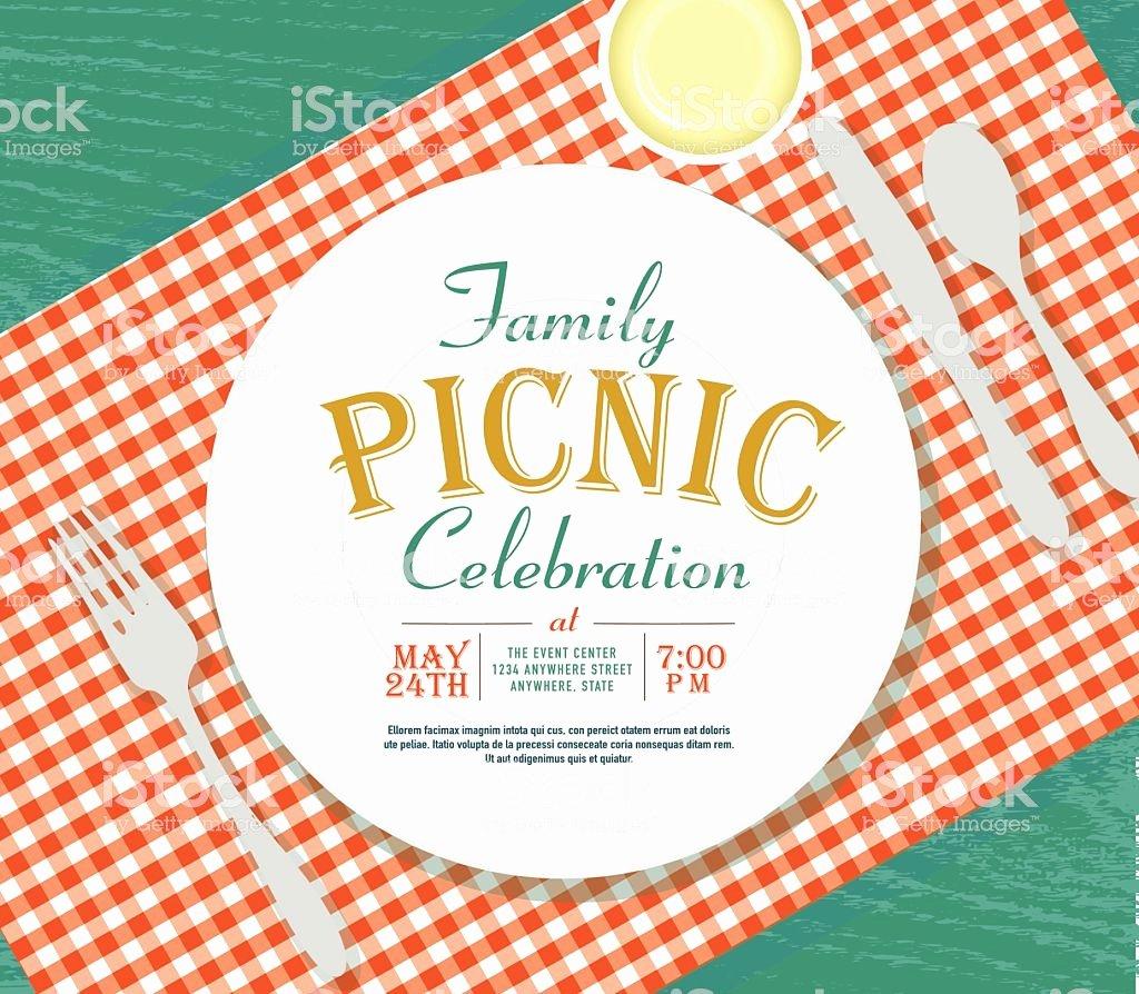 Picnic Invitation Design Template Green Background Stock