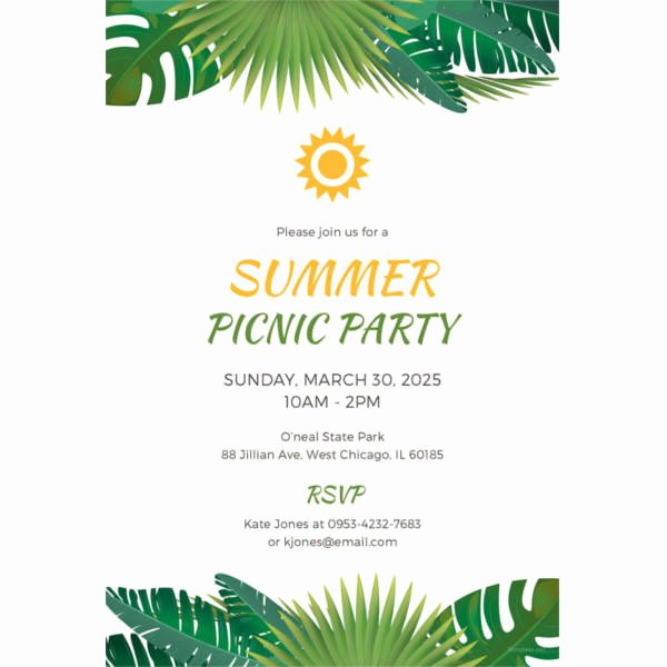 Picnic Invitation Template 26 Sample Example format