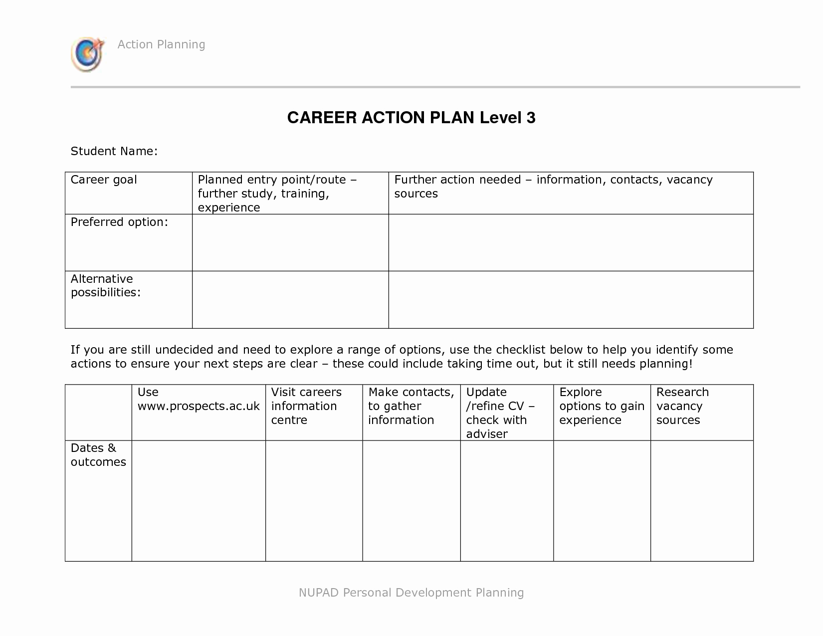 Pin Career Development Plan Template for High School