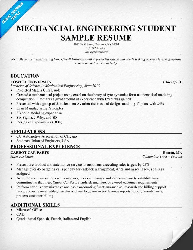 Pin Mechanical Engineering Resume Entry Level On Pinterest