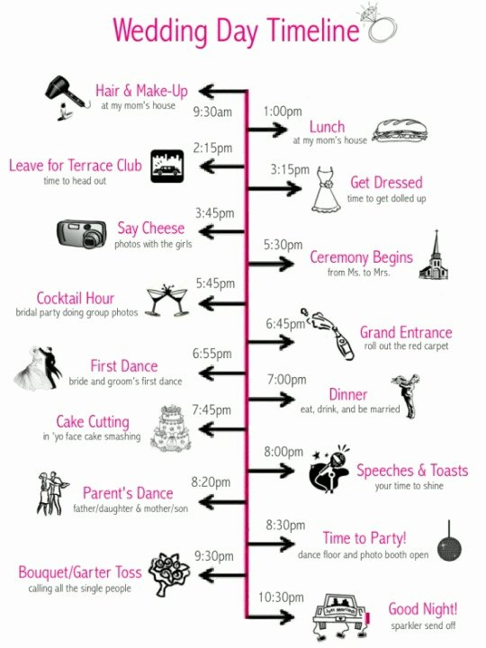 Pin Wedding Day Timeline Template Sample format Example On