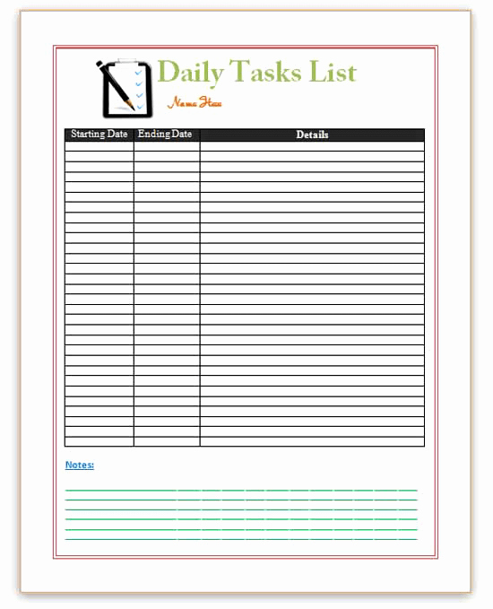 Pin Word Templates Daily Planner Templates