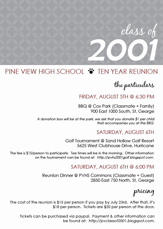 Pine View Class Of 2001 Reunion Invite