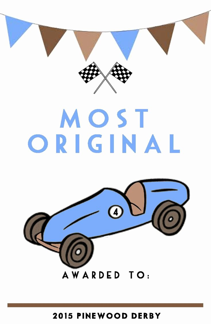 Pinewood Derby Certificates to Print Out and Give to the