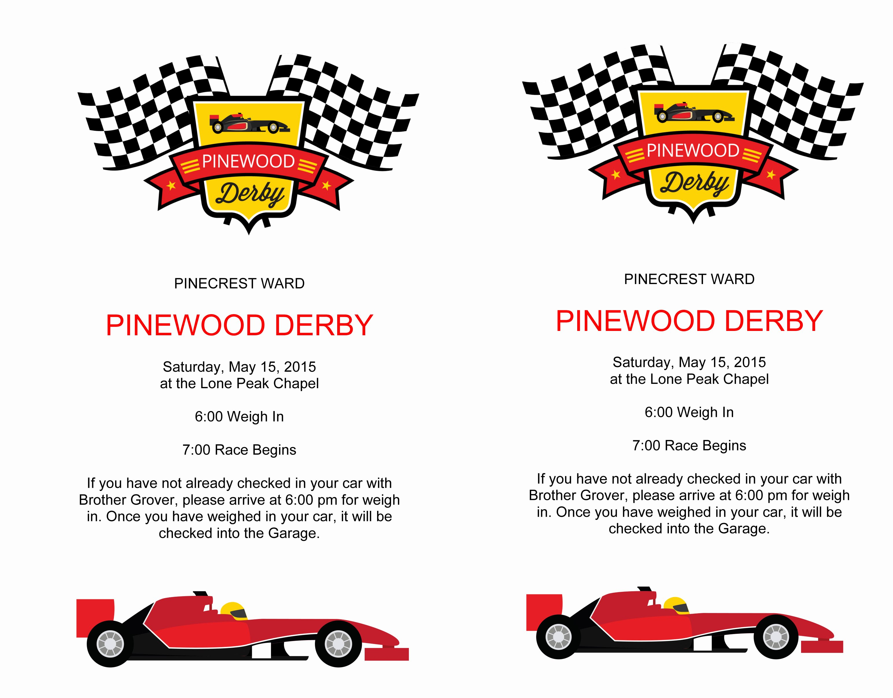 Pinewood Derby Flyers – the Gospel Home