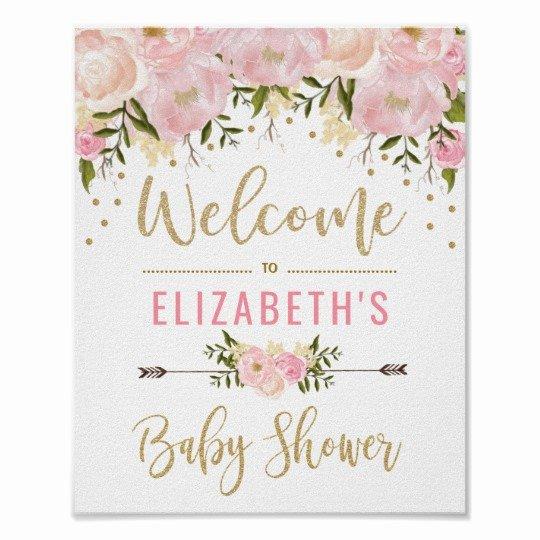 Pink & Gold Floral Baby Shower Wel E Sign Decor