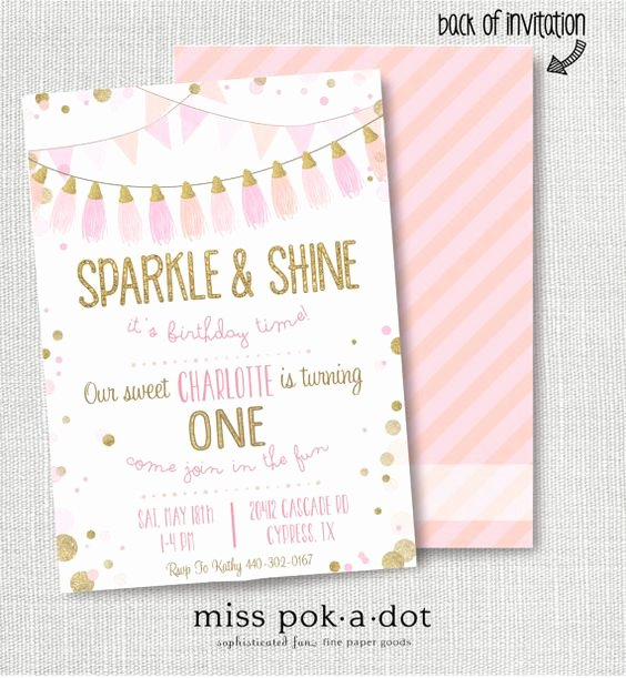 Pink and Gold Birthday Invitations Pink and Gold Birthday