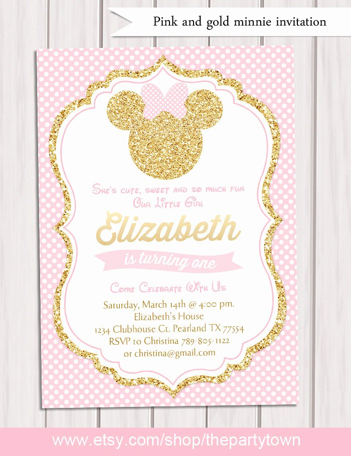 Pink and Gold Minnie Mouse Birthday Party Invitation First