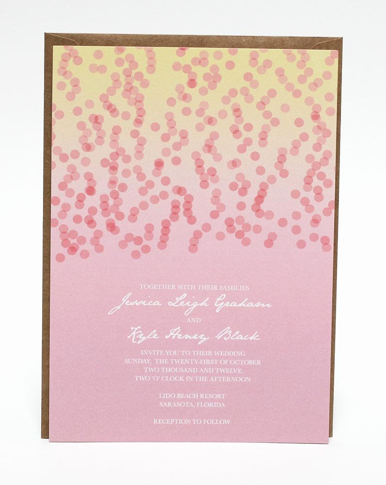 Pink and Gold Wedding Invitations Template