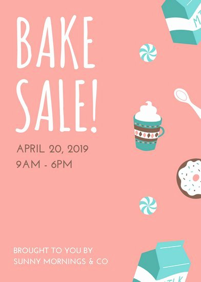 Pink and Turquoise Illustrated Bake Sale Flyer Templates