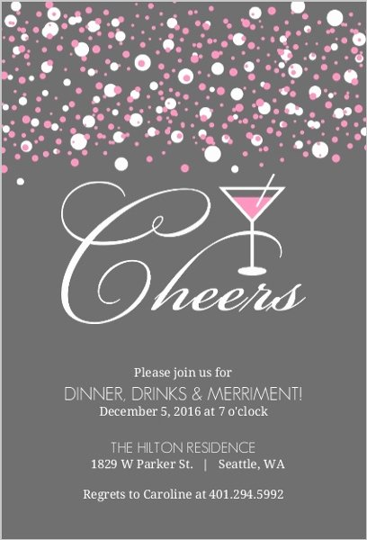 Pink Bubbles Martini Cocktail Party Invitation
