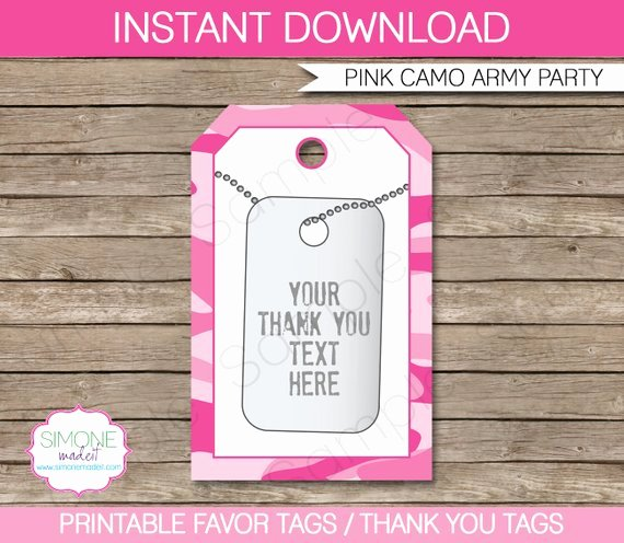 Pink Camo Favor Tags Thank You Tags Army Birthday