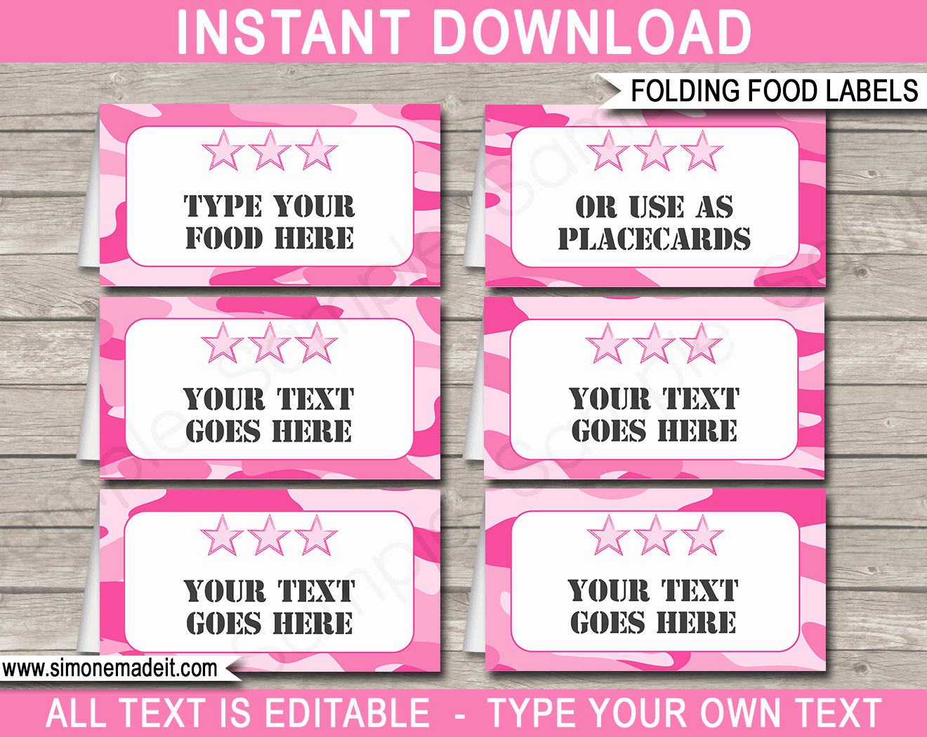 Pink Camo Food Labels Place Cards