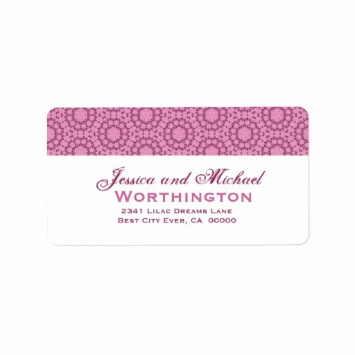 Pink Circle Flowers Wedding Template Address Label