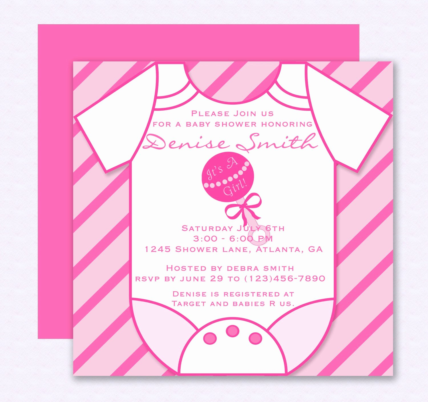Pink Esie Baby Shower Invitation Editable Template