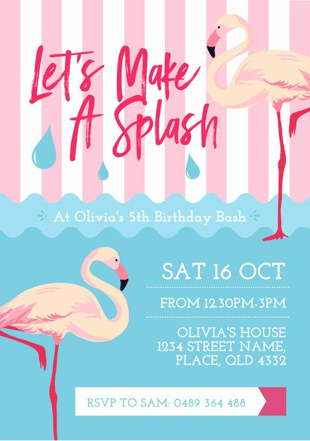 Pink Flamingo and Water Pool Party Invitation Template Easil