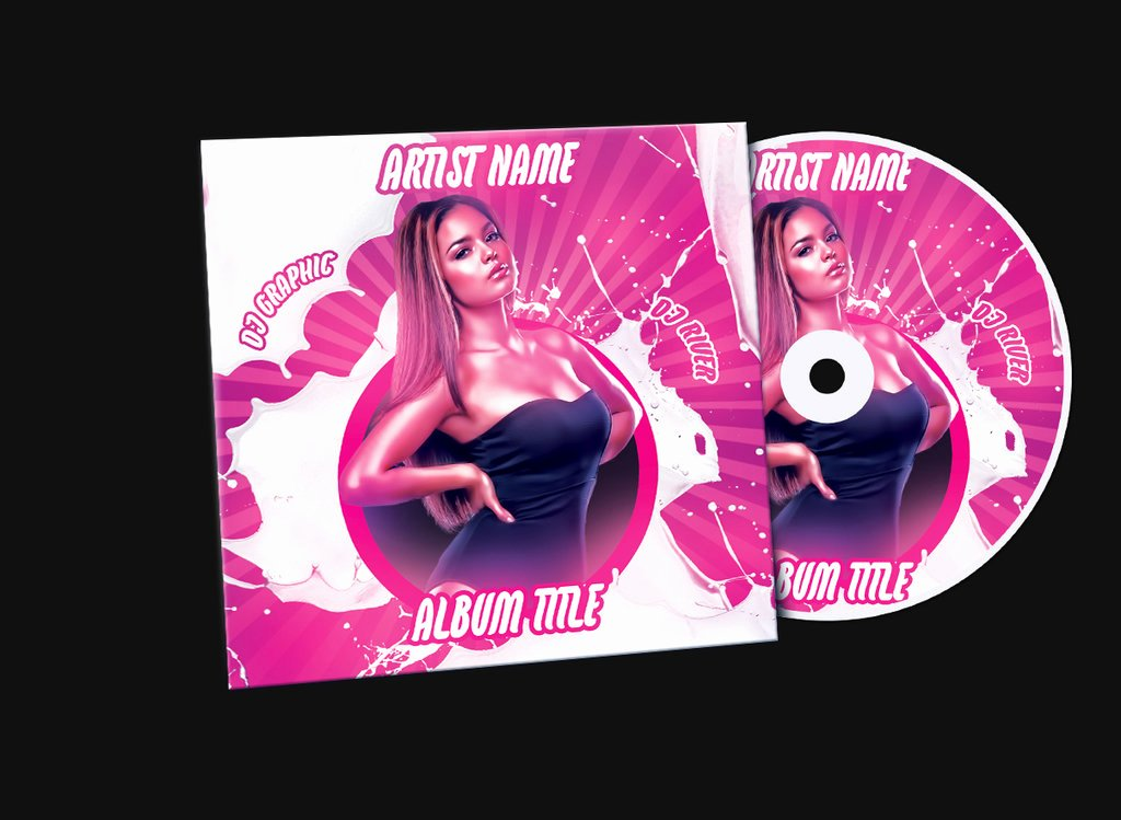 Pink Girl Album Mixtape Cd Cover Psd Template by Klarensm