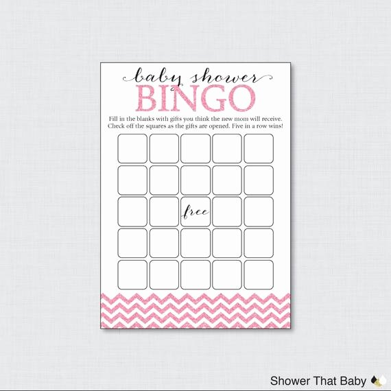 pink glitter chevron baby shower bingo